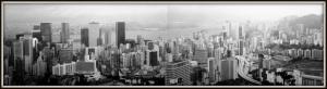 Hong Kong harbor black and white
